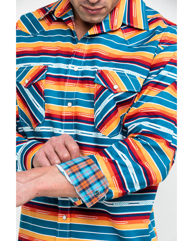 Rough Stock by Panhandle Men's Randall Vintage Aztec Print Long Sleeve Western Shirt , Orange, hi-res