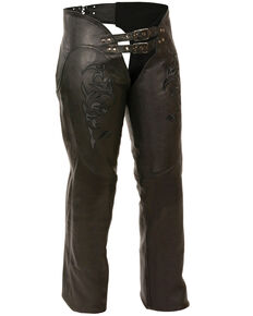 Milwaukee Leather Women's Reflective Tribal Embroidered Chaps - 3X, Black, hi-res