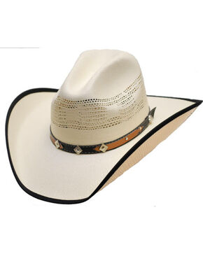 Western Express Kid's Montrose Diamond Straw Hat, White, hi-res