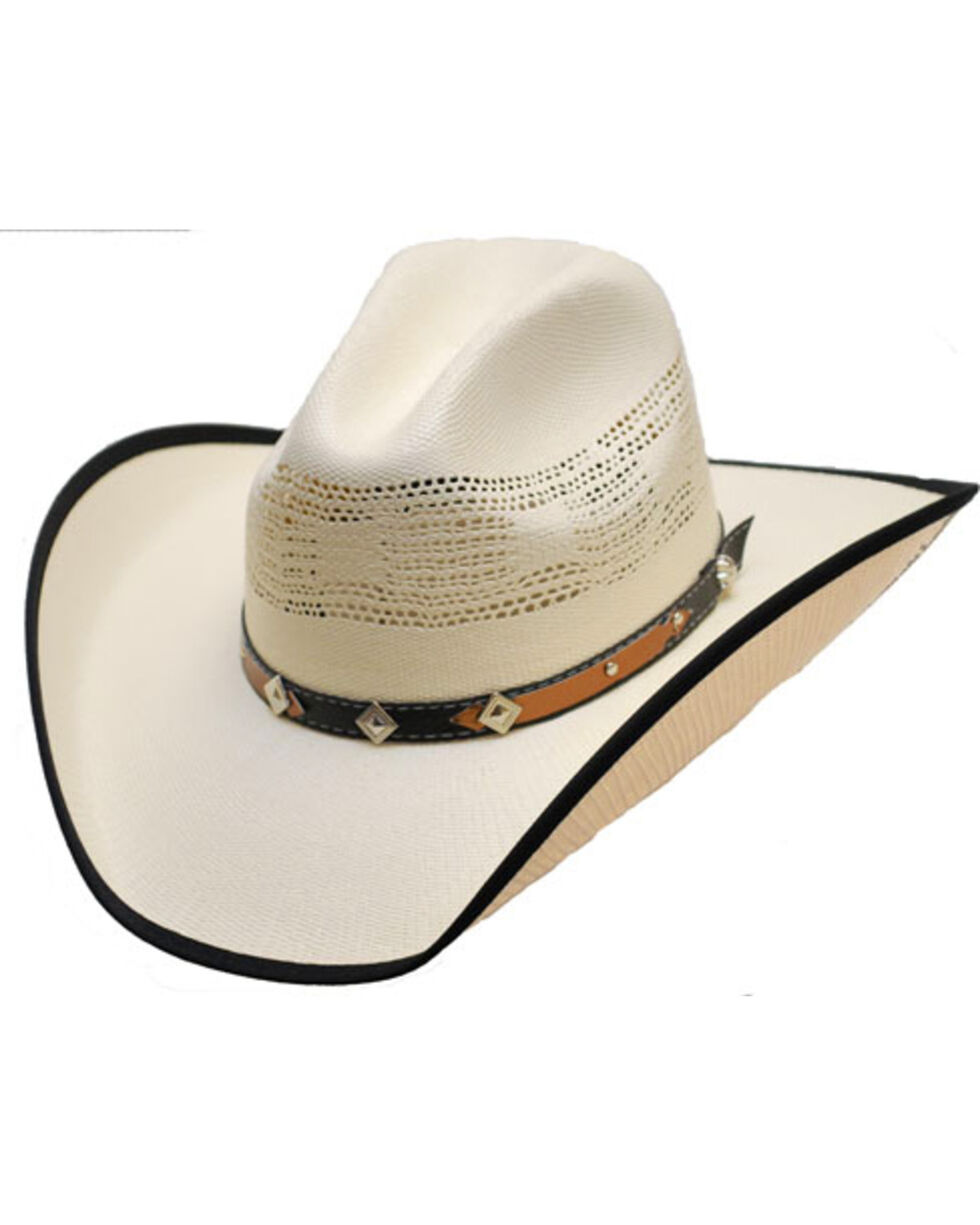 Western Express Men's White Bound Edge Straw Hat , White, hi-res