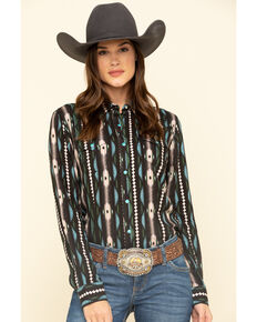 Wrangler Women's Brown Aztec Stripe Snap Long Sleeve Western Shirt , Brown, hi-res