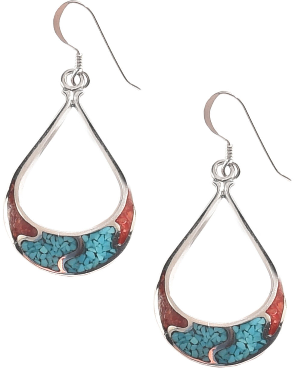 Silver Legends Women's 4 Channel Dangle Earrings , Turquoise, hi-res