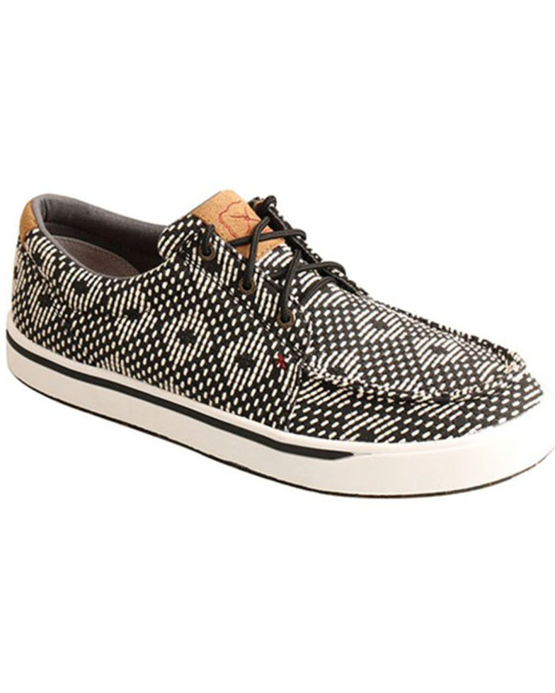 Twisted X Men's Kicks Casual Shoes - Moc Toe, Black/white, hi-res