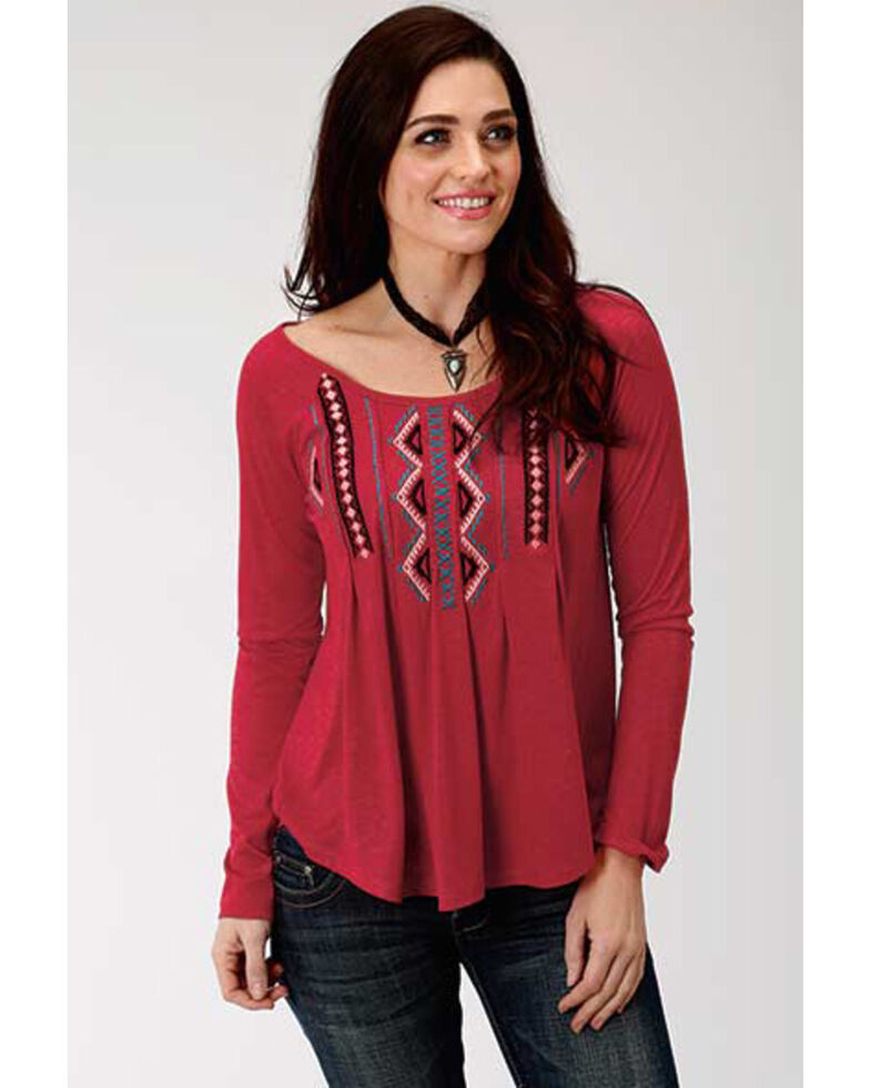Studio West Women's Embroidered Raglan Top, Red, hi-res