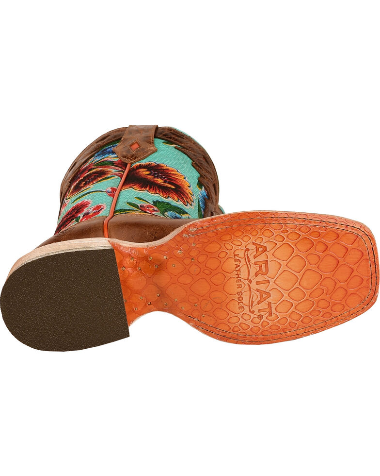 Ariat Women's Floral Textile Circuit Champion Western Boots, Brown, hi-res