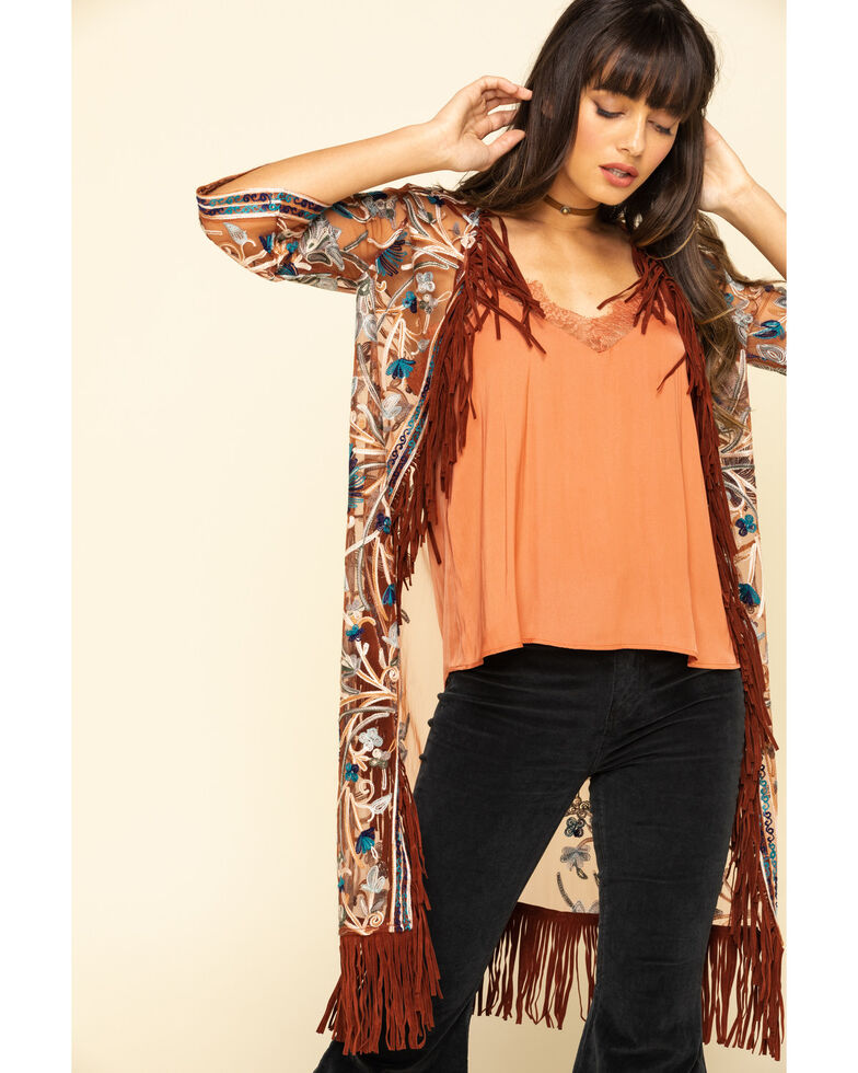 Shyanne Women's Embroidered Mesh Kimono Vest, Rust Copper, hi-res