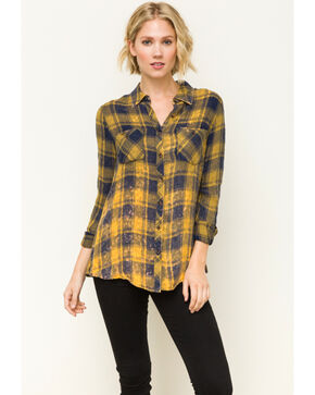 Mystree Women's Mustard Washed Plaid Flannel Shirt, Dark Yellow, hi-res