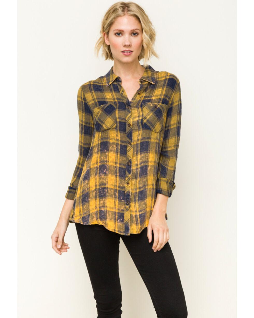 Mystree Women's Mustard Washed Plaid Flannel Shirt, Dark Yellow, hi-res