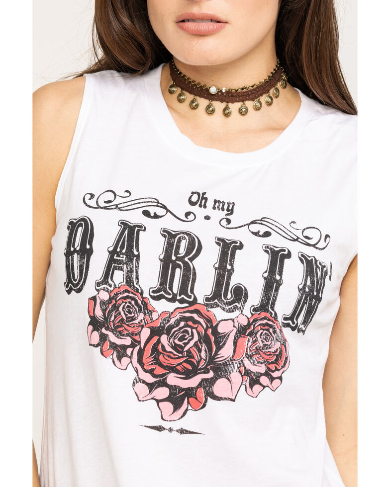 Rebellious One Women's Darlin' Roses Graphic Tank Top , White, hi-res