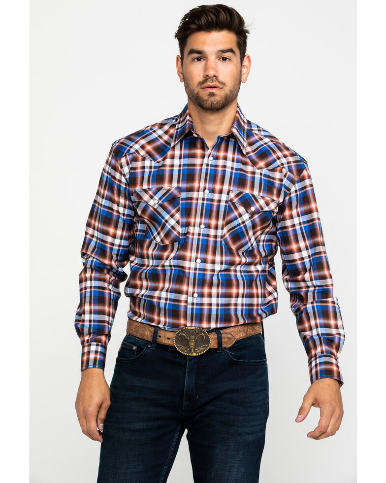 Rough Stock By Panhandle Men's Walpole Stretch Plaid Long Sleeve Western Shirt , Rust Copper, hi-res