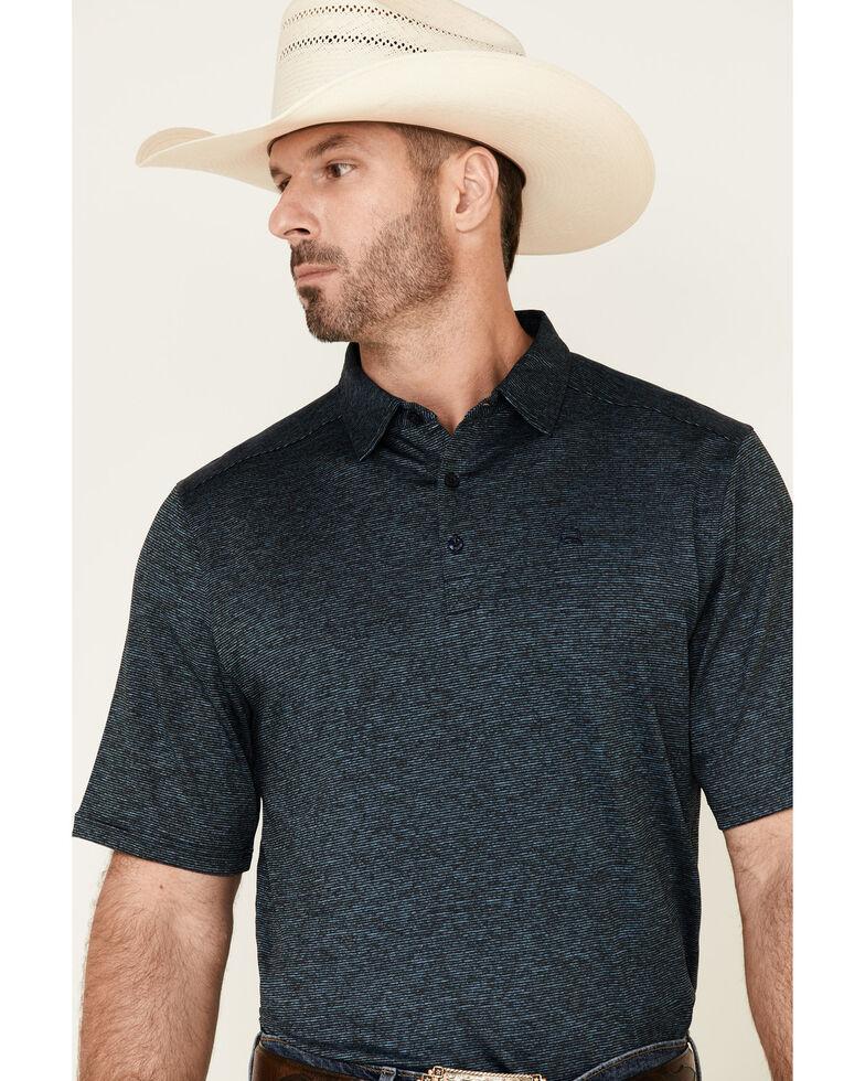 Cinch Men's ArenaFlex Heather Blue Short Sleeve Polo Shirt , Blue, hi-res