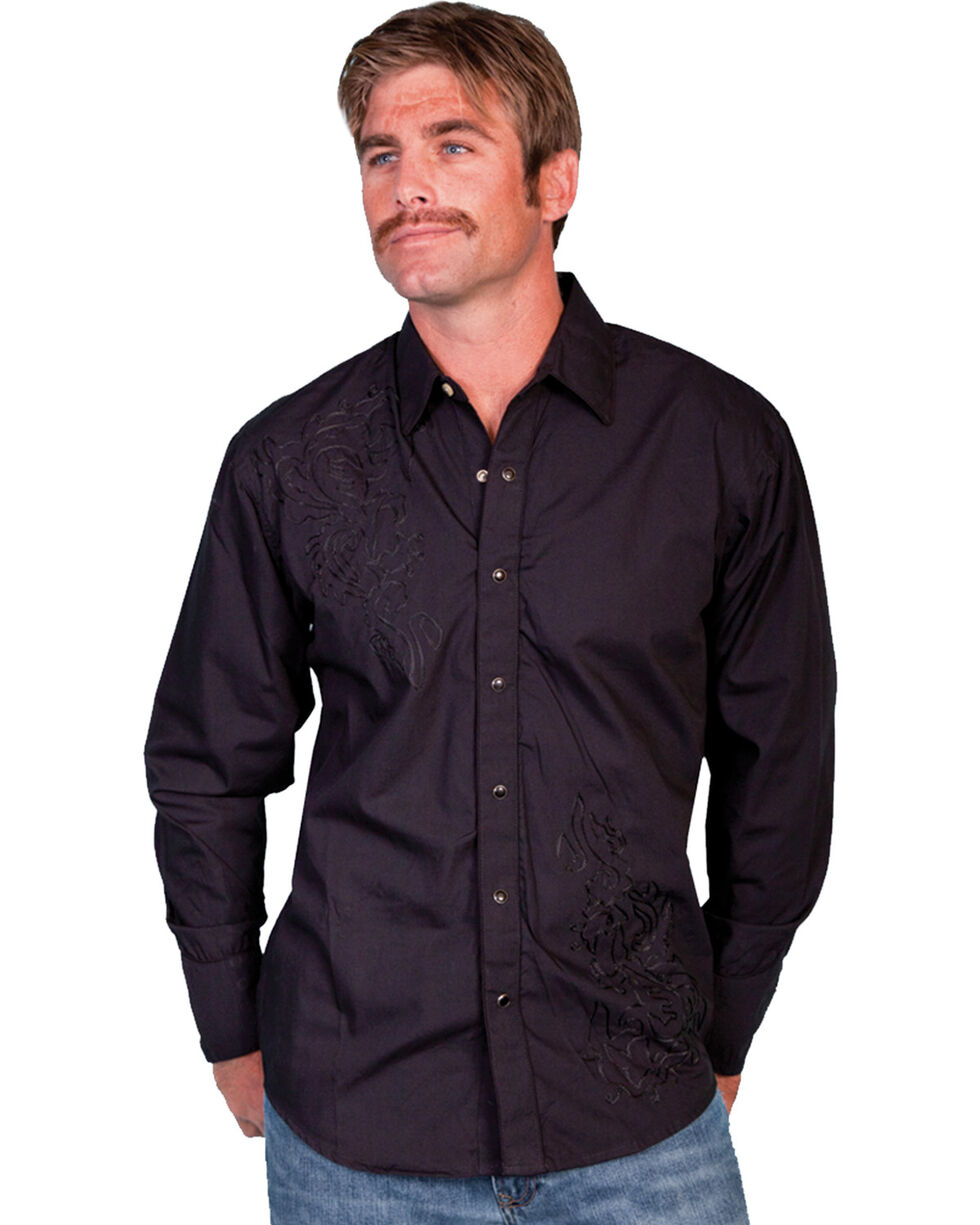 Scully Men's Tonal Embroidered Long Sleeve Shirt, Black, hi-res