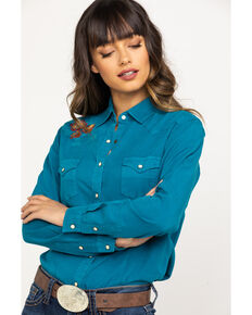 Panhandle Women's Teal Floral Embroidered Long Sleeve Western Shirt , Teal, hi-res