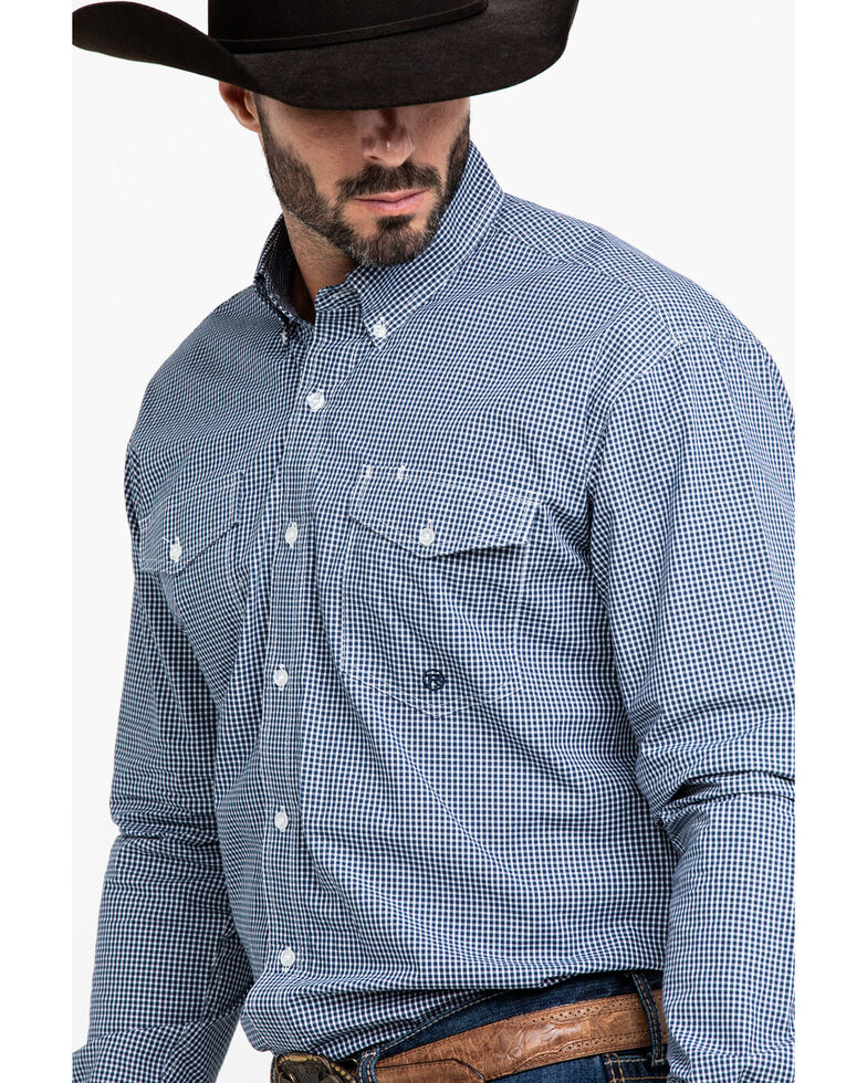 Roper Men's Amarillo Meadow Mini Check Plaid Long Sleeve Western Shirt , Blue, hi-res