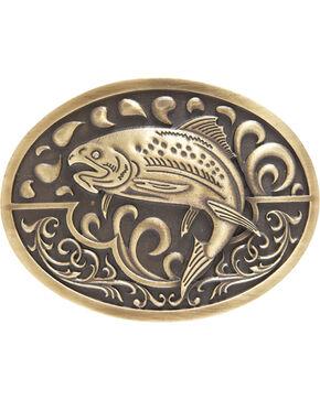 AndWest Men's Antique Bronze Fishing Belt Buckle, Brass, hi-res