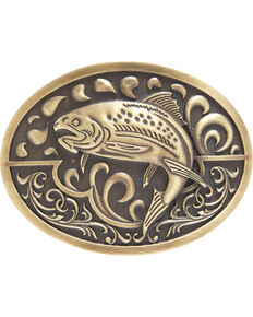 AndWest Men's Antique Bronze Fishing Belt Buckle, Brass, hi-res