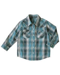 Wrangler Toddler Boys' Teal Plaid Long Sleeve Western Shirt , Turquoise, hi-res