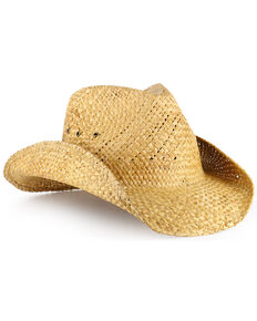 Cody James® Natural Straw Cowboy Hat, Brown, hi-res