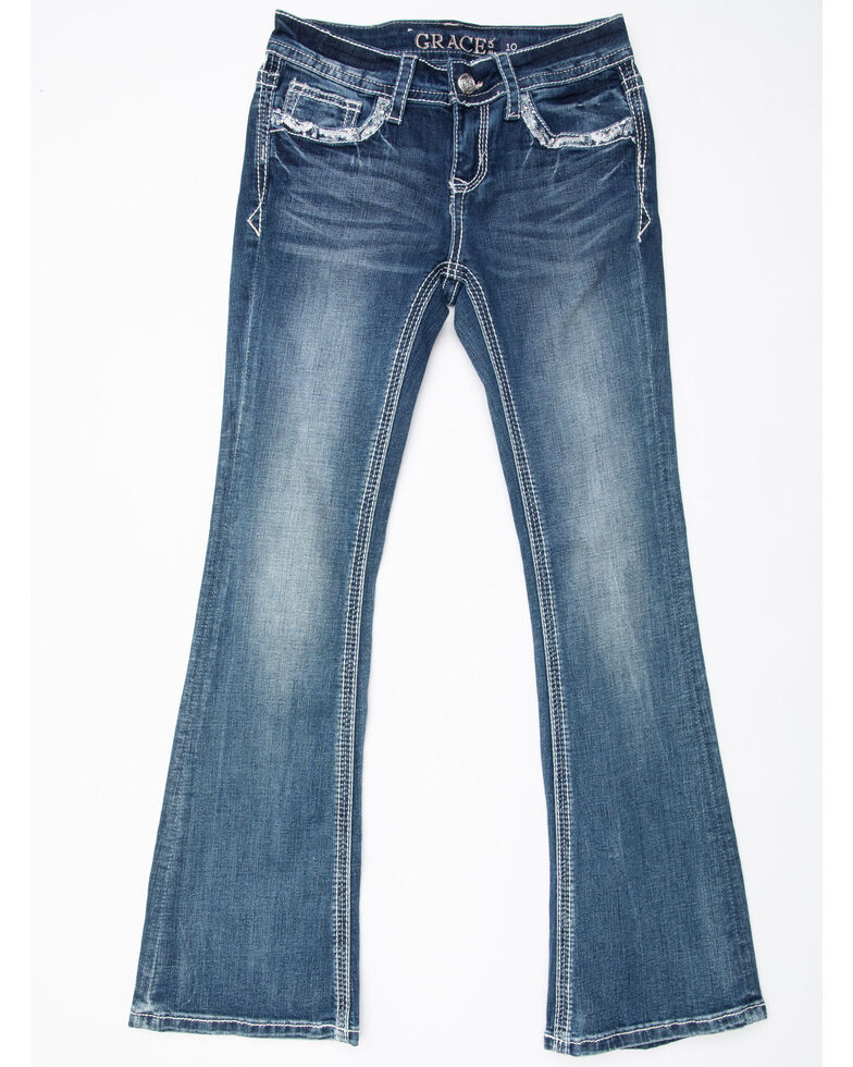 Grace in LA Girls' Medium Cross Bootcut Jeans , Blue, hi-res