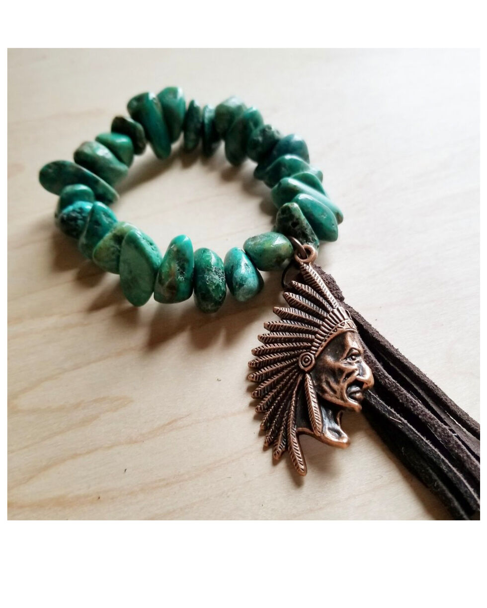 Jewelry Junkie Women's Natural Turquoise Indian and Tassel Charm Bracelet, Turquoise, hi-res