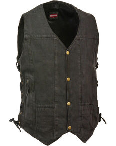 Milwaukee Leather Men's 10 Pocket Side Lace Denim Vest - 3X, Black, hi-res