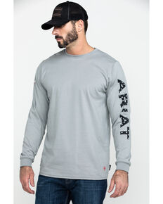 Ariat Men's FR Grey Old Glory Logo Crew Long Sleeve Work Shirt - Tall , Grey, hi-res