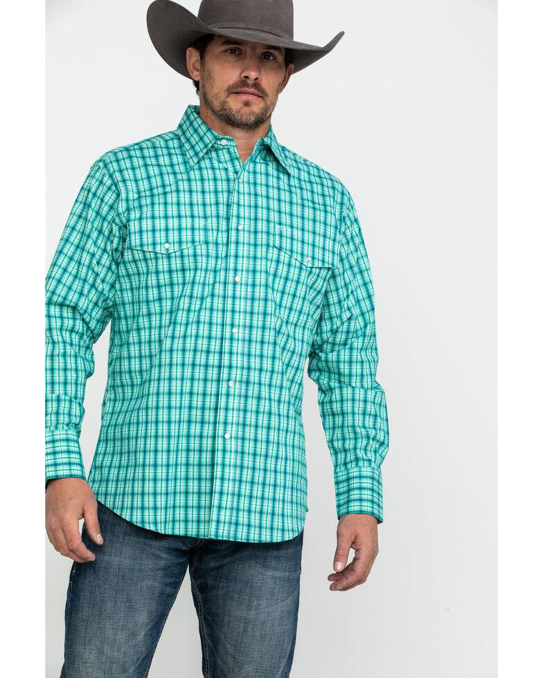 Wrangler Men's Green Wrinkle Resist Mini Check Plaid Long Sleeve Western Shirt , Green, hi-res