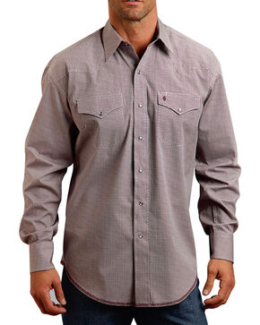 Stetson Men's Weave Patterned Long Sleeve Shirt, Wine, hi-res