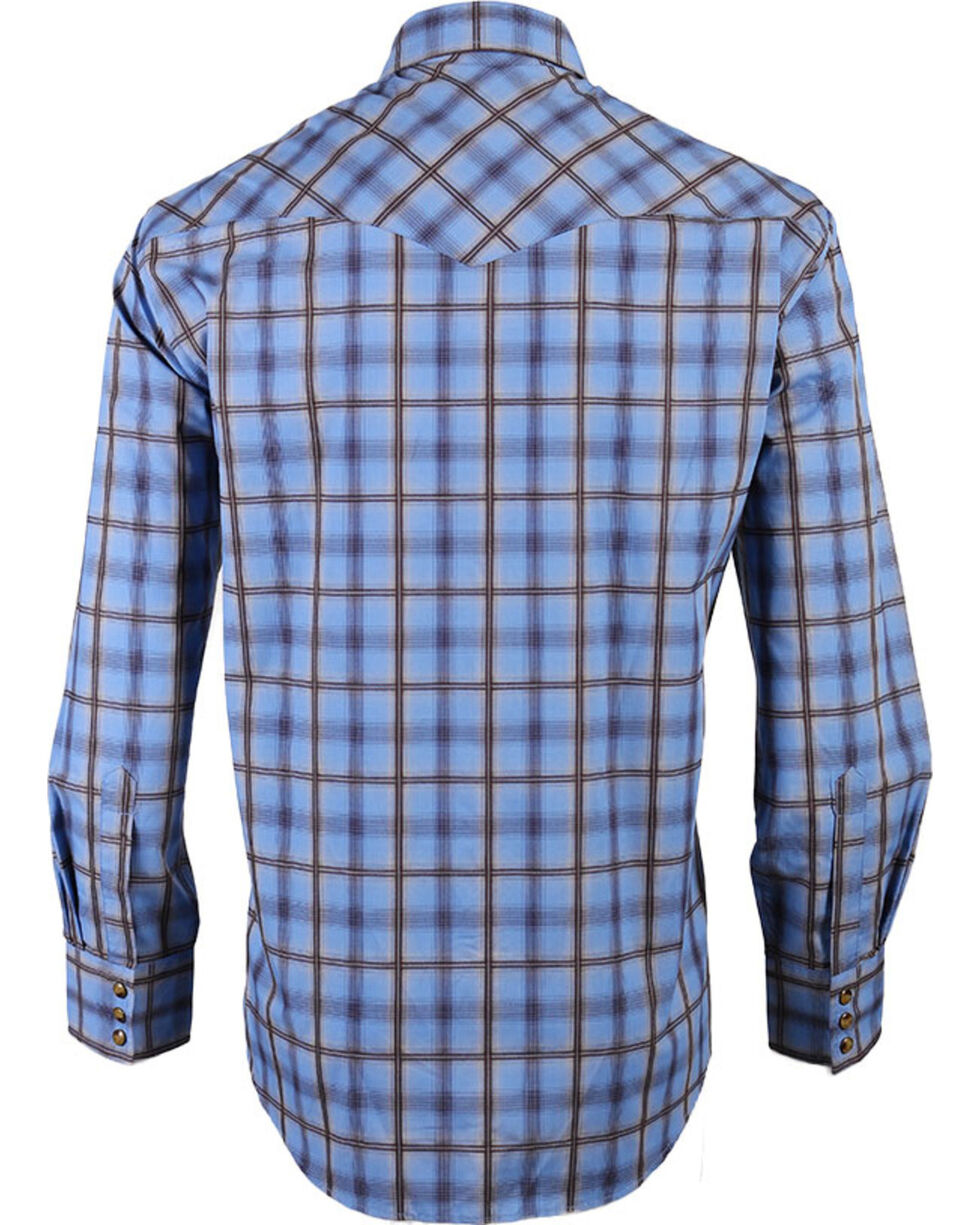 Pendleton Men's Western Plaid Long Sleeve Shirt, Brown/blue, hi-res