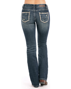 Rock & Roll Cowgirl Women's Pocket Border Boot Cut Jeans , Indigo, hi-res