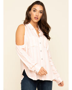 Ariat Women's Markle Cold Shoulder Top, Pink, hi-res