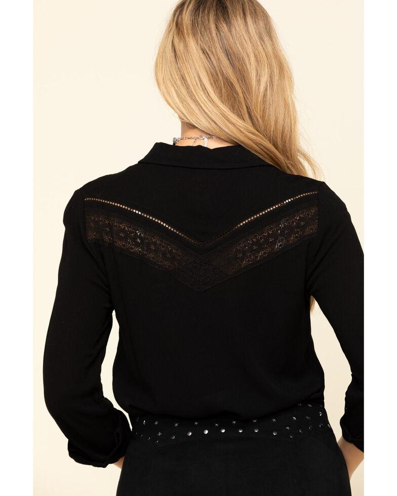 Idyllwind Women's Breezy Button Front Western Top, Black, hi-res