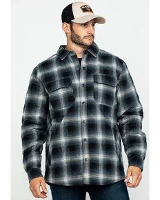 Hawx® Men's Black Quilted Plaid Shirt Work Jacket - Tall , Black, hi-res