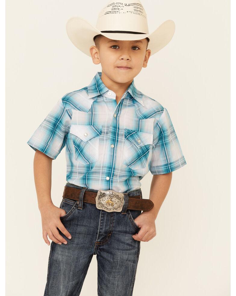 Ely Walker Boys' Jade Plaid Short Sleeve Snap Western Shirt , Jade, hi-res