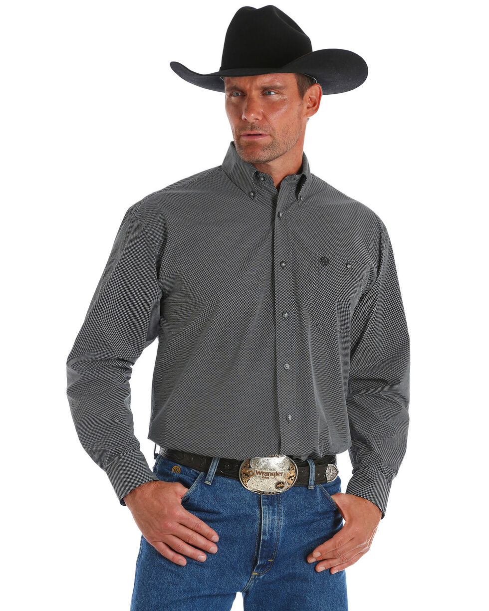 George Strait by Wrangler Men's Dotted Print Long Sleeve Western Shirt , Black, hi-res