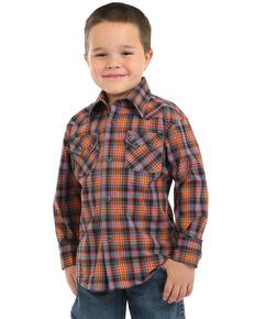 Wrangler Retro Boys' Plaid Snap Long Sleeve Western Shirt , Rust Copper, hi-res