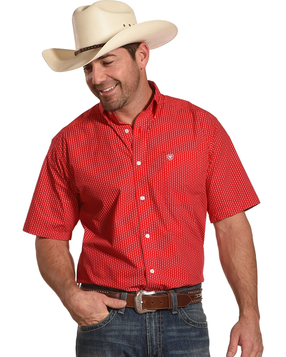 Ariat Men's Casual Series Scooter Red Print Short Sleeve Button Down Shirt, Red, hi-res