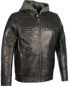 Milwaukee Leather Men's Snap Collar Leather Moto Jacket w/ Removable Hood - Big - 5X, Black, hi-res