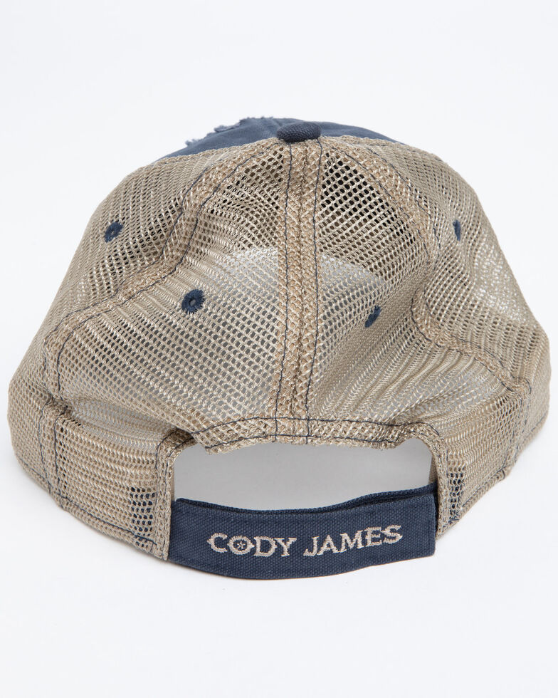 Cody James Men's Ripped Flag Mesh Ball Cap , Blue, hi-res