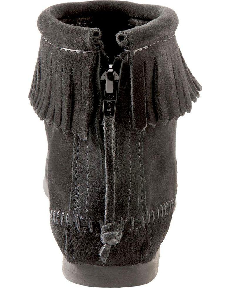 Women's Minnetonka Suede Back Zipper Moccasin Boots, Black, hi-res