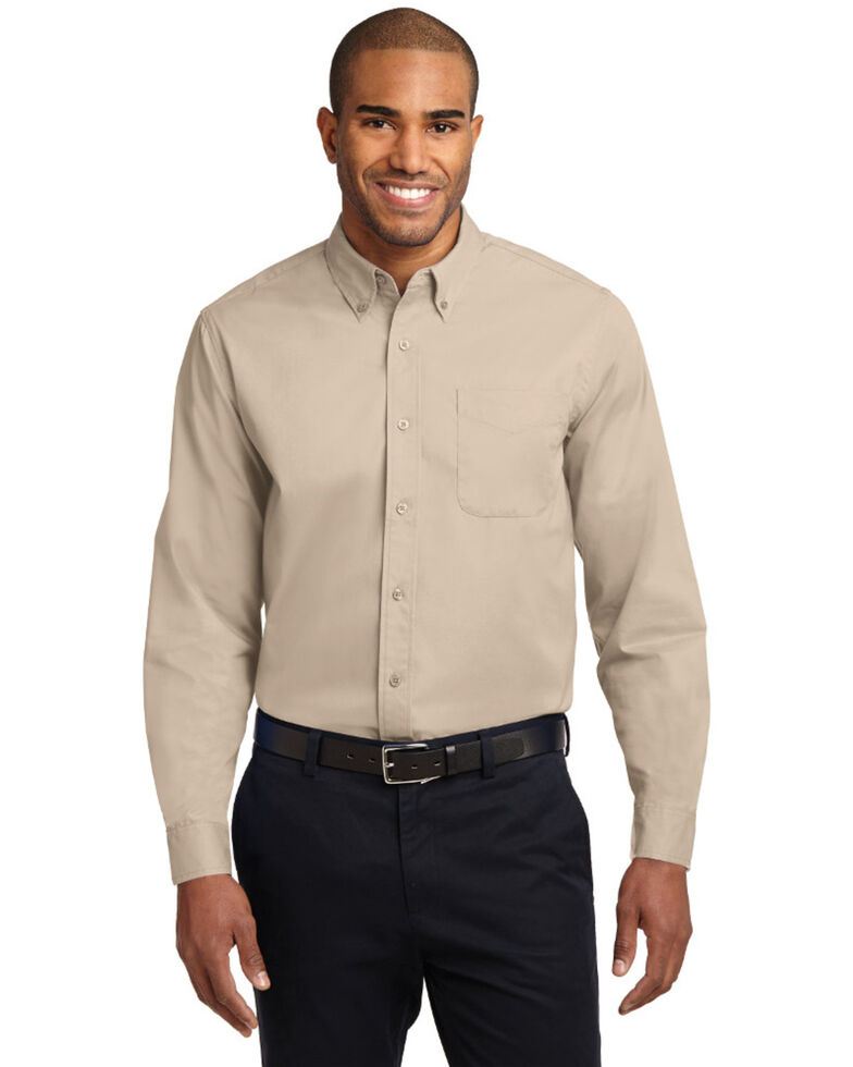 Port Authority Men's Grey Solid Wrinkle Free Long Sleeve Work Shirt , Stone, hi-res