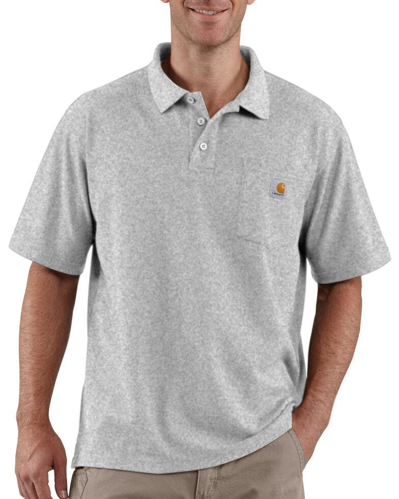 Carhartt Men's Contractors Pocket Short Sleeve Work Polo Shirt, Hthr Grey, hi-res