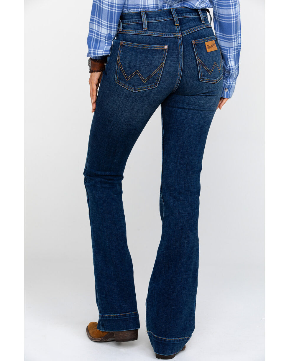 Wrangler Women's Heritage Exaggerated High Rise Boot Jeans , Dark Blue, hi-res