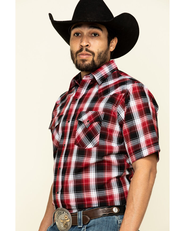 Ely Cattleman Men's Burgundy Plaid Short Sleeve Western Shirt , Burgundy, hi-res