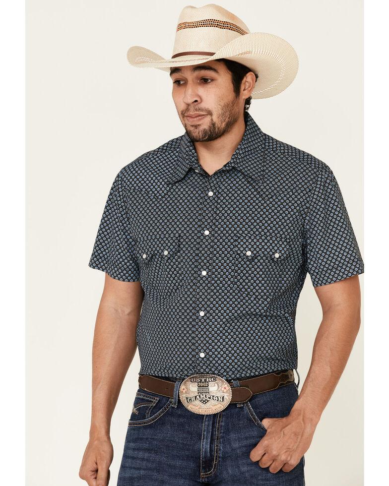 Rock & Roll Denim Men's Blue Geo Print Short Sleeve Western Shirt , Blue, hi-res