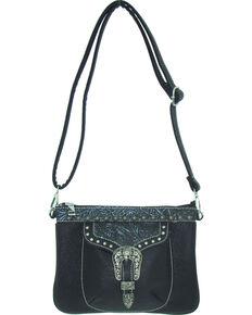 Savana Women's Faux Leather Distressed Crossbody Bag , Black, hi-res