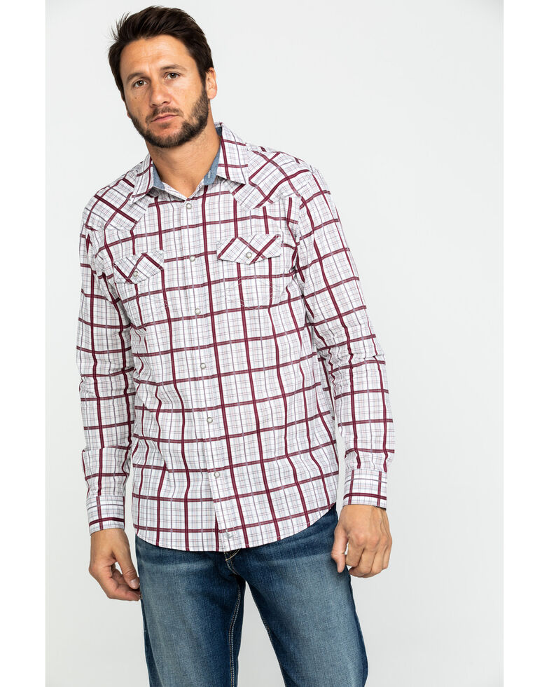 Cody James Men's Far Country Med Plaid Long Sleeve Western Shirt , White, hi-res