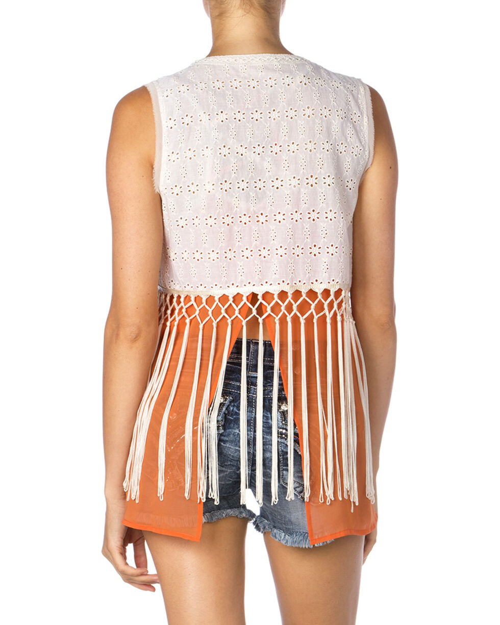 Miss Me Women's Eyelet Lace and Fringe Vest, Cream, hi-res