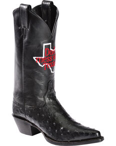 "Justin Women's ""Don't Mess With Texas"" Full Quill Ostrich Exotic Boots, Black, hi-res"