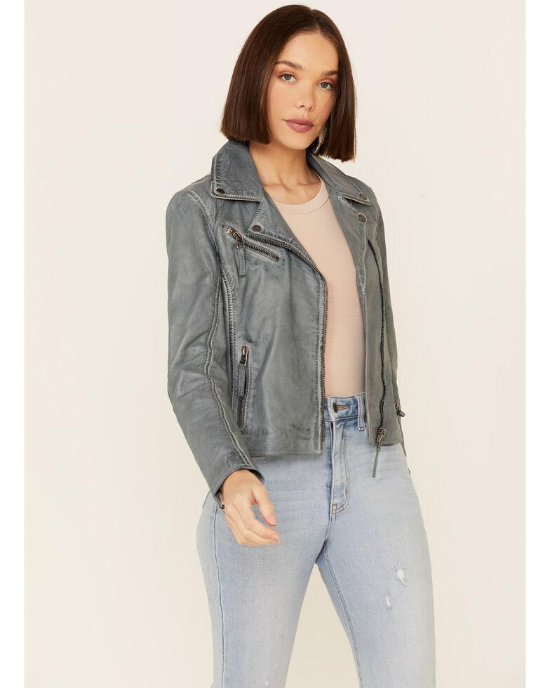 Mauritius Leather Women's Christy Sky Blue Star Leather Moto Jacket , Light Blue, hi-res